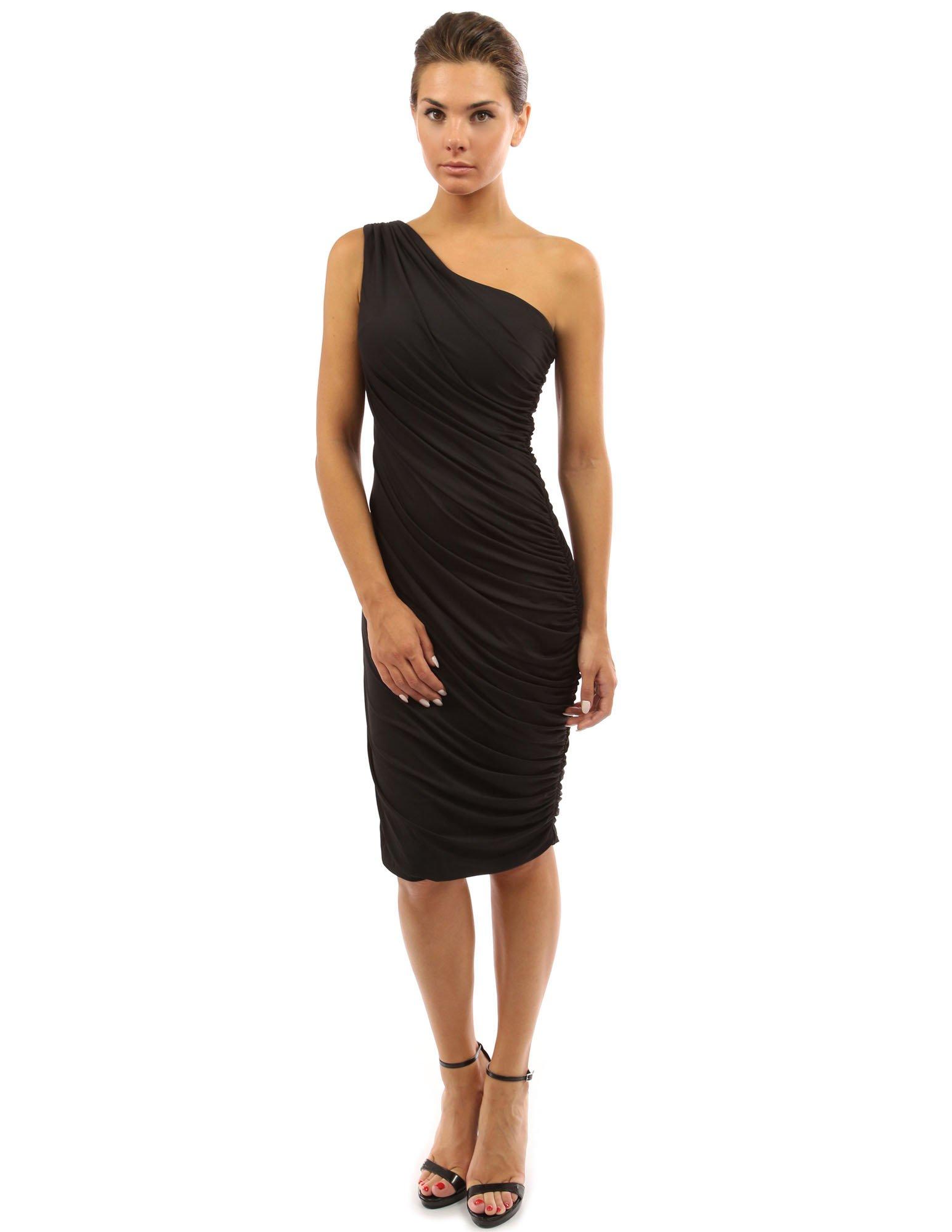 PattyBoutik Women One Shoulder Cocktail Dress (Black Large) by PattyBoutik