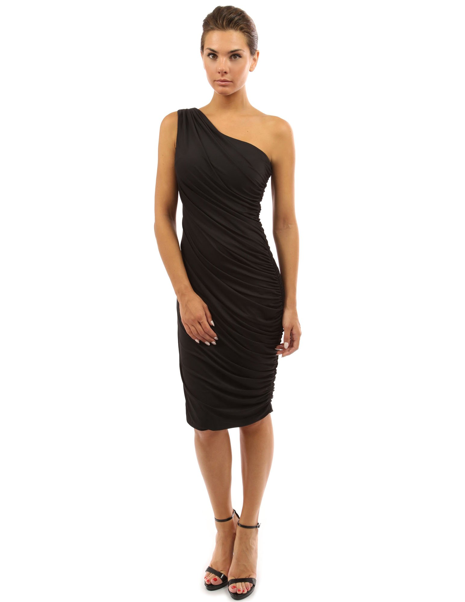 PattyBoutik Women's One Shoulder Cocktail Dress (Black S)