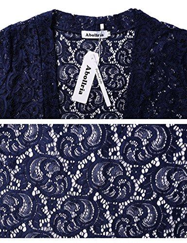 Manga Lino Leger Corbata Transparente Cardigan Encaje Manga verano de Vintage Crochet Azul Elegante Chaleco Chaqueta 3 marino Bolero corta Abierto Outwear Mujer 4 tejido xCaxqwYv