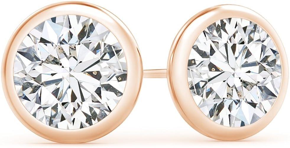 3//4CT TW Bezel Stud Earrings Mounting 18K White Gold Settings.