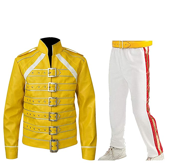 CHICAGO-FASHIONS Mens Freddie Queen Concert Belted Motorcycle Yellow Faux Leather Mercury Costume