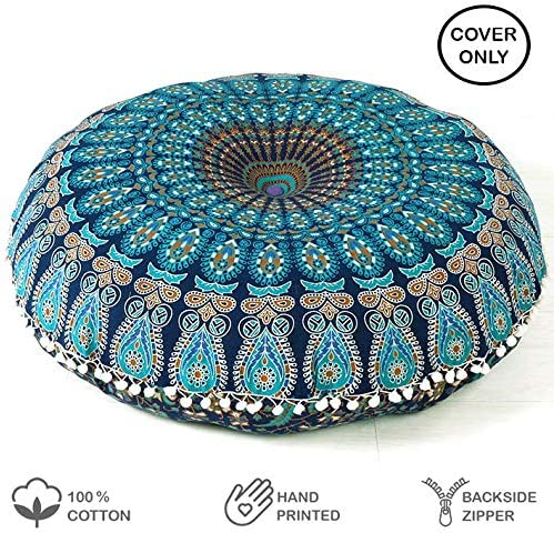 Indian Mandala Floor Pillow Tapestry Meditation Cushion Cover Dog Bed Square