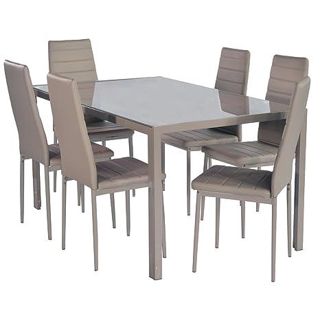 Set Tavolo Da Pranzo E Sedie Casa Cucina Sala Da Pranzo Vetro ...