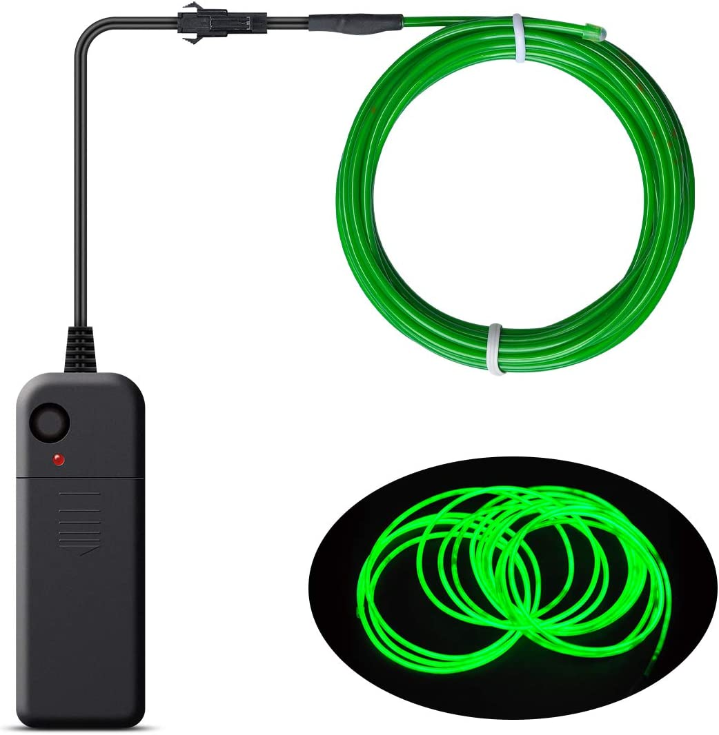 luces de ne/ón de cuerda Songway Portable EL Wire Blue luz estrobosc/ópica destellante cable de alambre electroluminiscente para Halloween Cosplay Vestido de fiesta de carnaval de Navidad