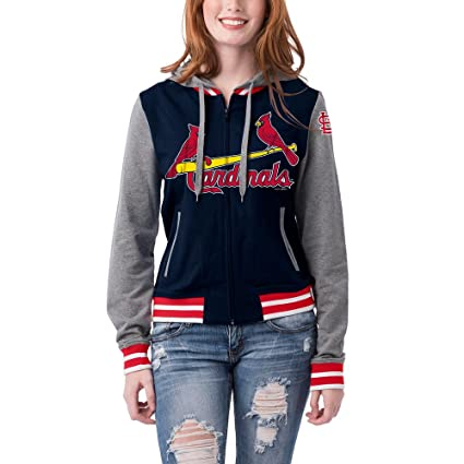 newest 7049c fd4fb St. Louis Cardinals Women's French Terry Contrast Sleeves Zip Up Hoodie