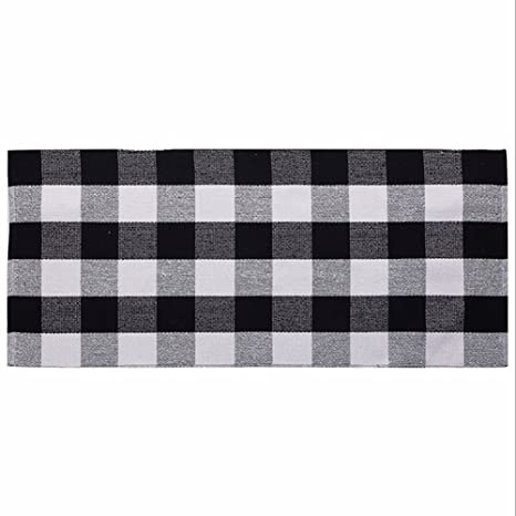 Ukeler Cotton Rug Hand Woven Buffalo Checkered Kitchen Rugs Washable  Braided Kitchen Mat Black And