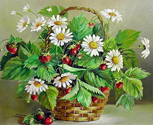 Fall Daisy Basket - DIY 5D Diamond Painting Kit Embroidery Rhinestone Cross Stitch Arts for Craft Home Wall Decor Flower Baskets and Daisies 30 x 40 cm / 11.87 x 15.75 inches