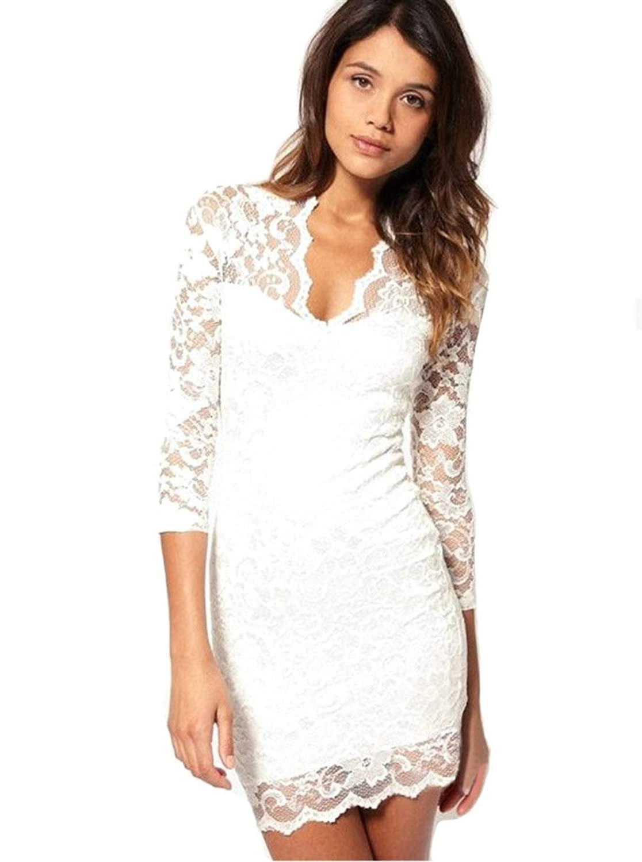 Purpura Erizo Womens V-Neck 3/4 Sleeves Lace Dress