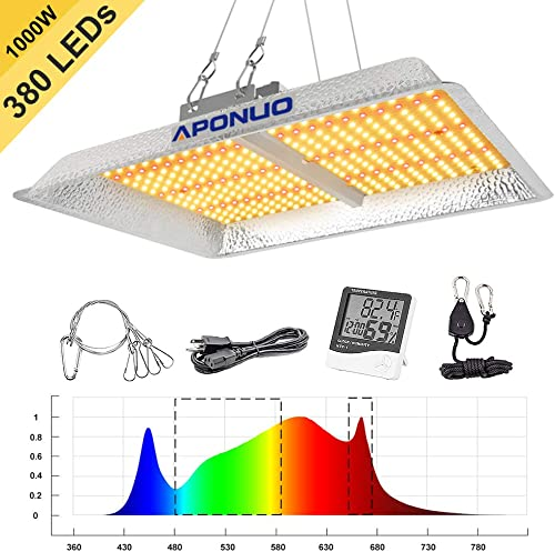 Led Grow Light 1000W Full Spectrum Grow Lights for Indoor Plant Sunlight 3500K White and 660nm Red Added Grow Lamps 380LEDs Hydroponic Seedling with Thermometer Hygrometer