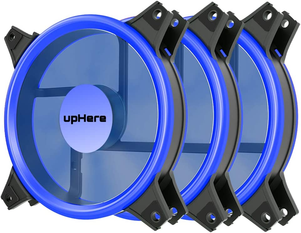upHere Blue Computer Case Fan 120mm LED Silent Fan for Computer Cases, CPU Coolers, and Radiators Ultra Quiet, Premium Edition,3 Pin 3 Pack/B12CM3-3