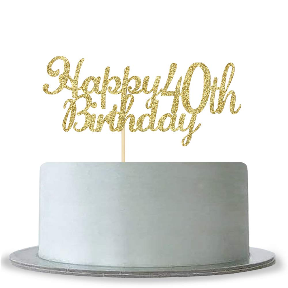 Amazon Happy 40th Birthday Cake Topper Gold Glitter Cheers To 40 Years Hello Anniversary Party Decoration Kitchen Dining