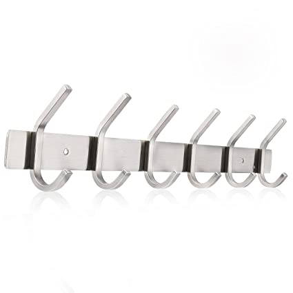 Ruicer Ganchos Percheros de pared Percha Acero Inoxidable 6 Doble Ganchos