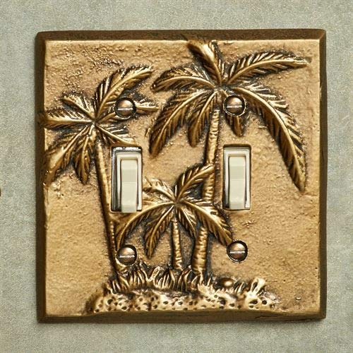 Gold Double Palm Trees - Palm Tree Double Switch Antique Brass