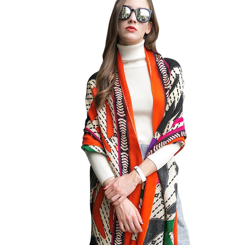 DANA XU 100% Pure Wool Winter Women Scarf National Style Pashmina … (Deep Red)