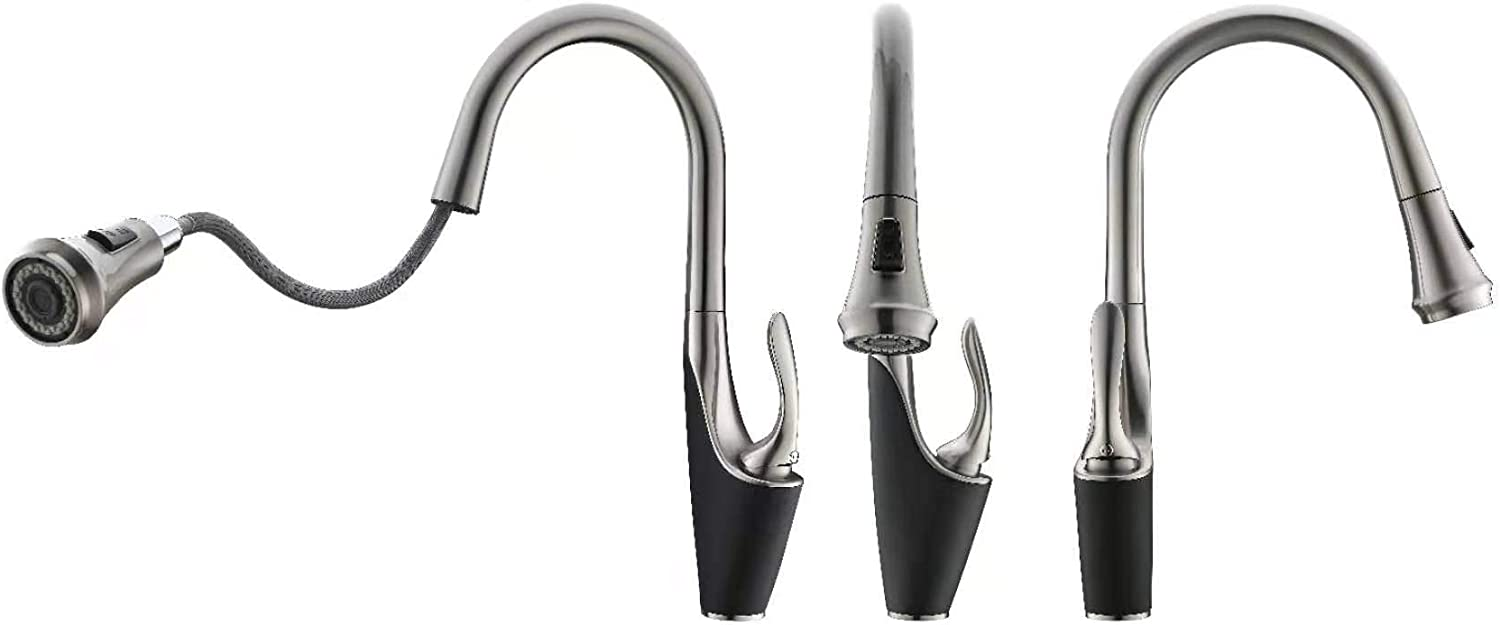 Pull Out Single Handle cUPC Lead Free PA66 Kitchen Faucet with AB1953 Certificate in Brushed Nickel and Black of Superior Quality KV/&V Silver and Black Brushed Swan