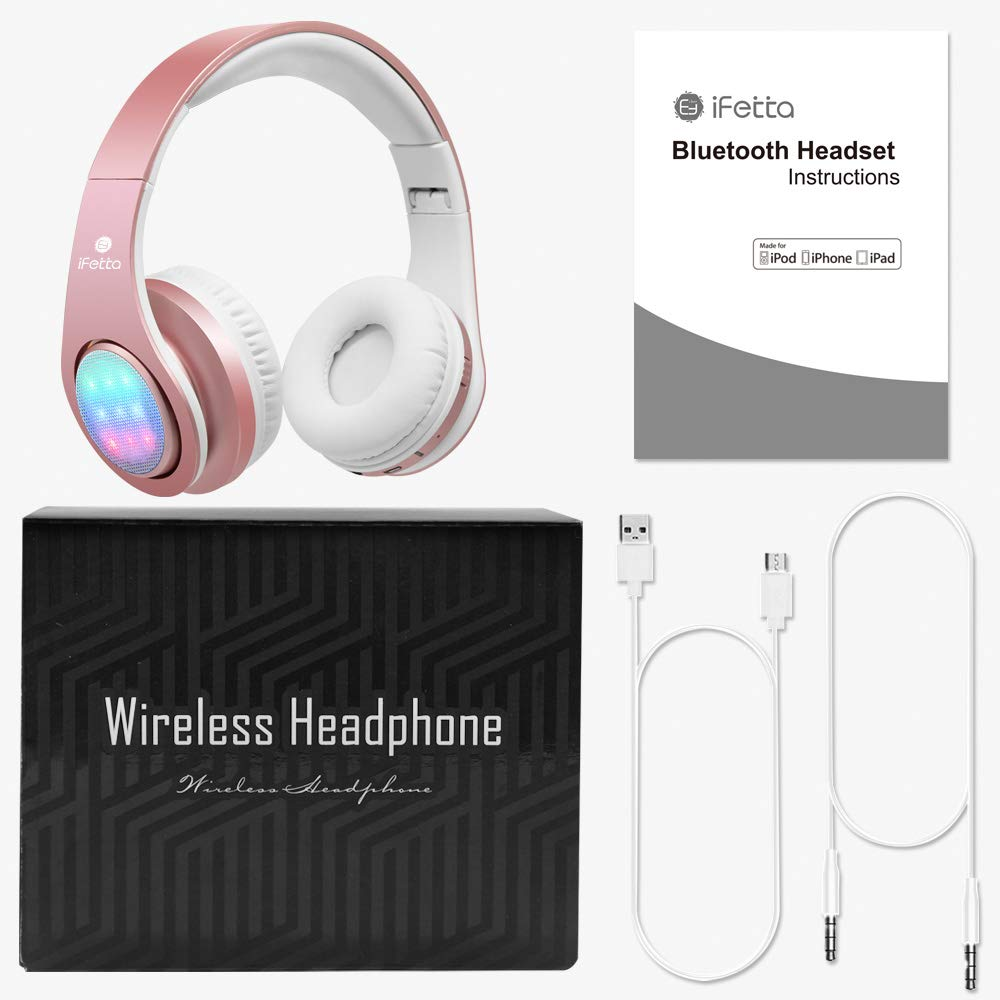 Bluetooth Kopfhörer, Ifecco LED Over Ear Headset Wirless Ohrpolster Kopfhörer mit 3 LED und eingebautes Mikrofon Kompatibel mit Allen Gängigen Smartphones/Tablets/Notebooks (golden rose)
