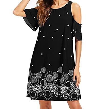 992c851cdcb Women s Dress Summer Cold Shoulder Chiffon Mini Dresses Casual Loose T  Shirt Dress Short Party Dress