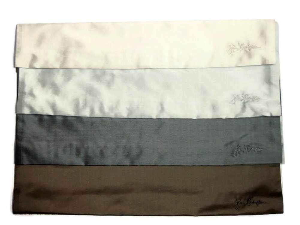Jim Thompson - Set of 4 Thai Silk Sofa Cushion Pillow Cover / Case for Home Decoration - Gray by SukSomboonShop