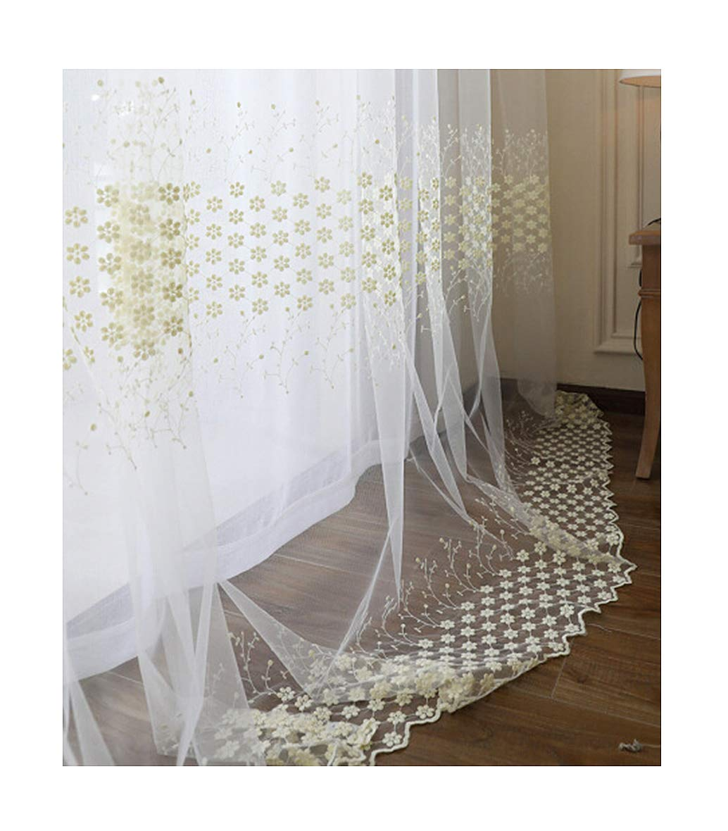 ASide BSide Sheer Curtains Floral Lozenge Lace Nature Style Rod Pocket Top Transparent Window Decoration For Children Room Sitting Room and Houseroom (1 Panel, W 52 x L 95 inch, White)