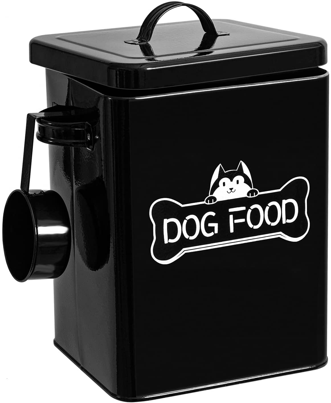 Vumdua Cat and Dog Food Storage Container with Serving Scoop - Airtight Pet Food Storage with Lid, Farmhouse Dog Treat Container, Great Gift for Dog Owners, Black