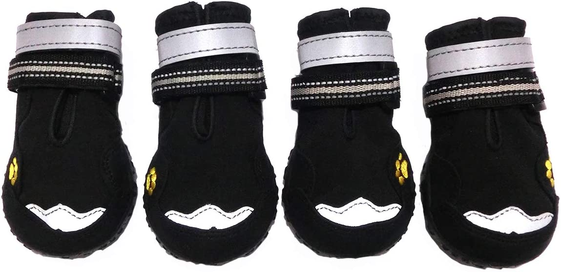 Xanday Dog Boots Waterproof Dog Shoes, Paw Protectors with Reflective and Adjustable Straps and Wear-Resisting Soles,4PCS