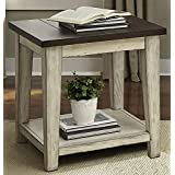 "Liberty Furniture 612-OT1020 Lancaster End Table, 24"" x 24"" x 24"", Weathered Bark Finish with White Hang Up"