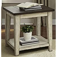 Liberty Furniture 612-OT1020 Lancaster End Table, 24 x 24 x 24, Weathered Bark Finish with White Hang Up