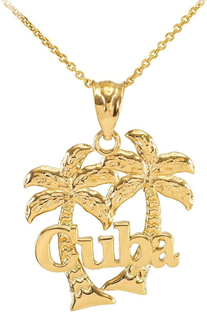 14K Yellow Gold Palm Tree Pendant Solid 9 mm 24 mm Pendants /& Charms Jewelry