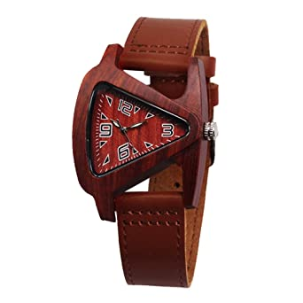Fashion Triangle Watches for Women - Arabic Numerals Scale Natural Wood Case Leather Watches for Lady