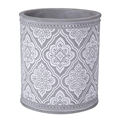 Kitchen Cooking Utensil Holders | Fine Embossed Cement Utensils Crock | Cement Utensil Container Kitchenware Flatware Organizer - Farmhouse Decor Utensils Caddy (Rhombic Pattern)
