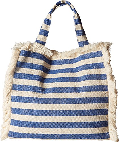 Hat Attack Women's Fringed Canvas Tote Blue Stripes One Size