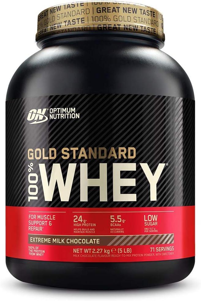 Optimum Nutrition ON Gold Standard 100% Whey Proteína en Polvo Suplementos Deportivos, Glutamina y Aminoacidos, BCAA, Extremo Chocolate Leche, 71 Porciones, 2.27 kg, Embalaje Puede Variar