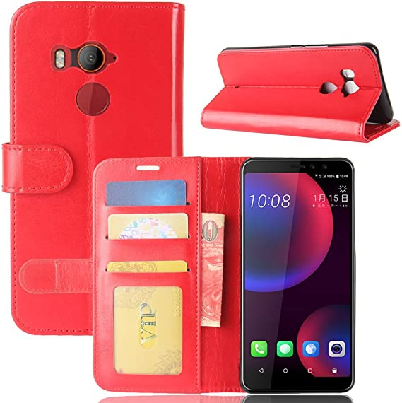 Funda® Capirotazo Billetera Funda para HTC U11 EYES (Rojo): Amazon ...