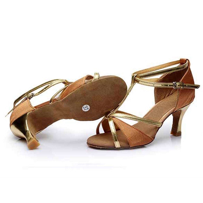 Damen Ballsaal Latein Salsa Tanz Schuhe Standard & Latein stil 255,Brown,41EU,Heel1.95¡±
