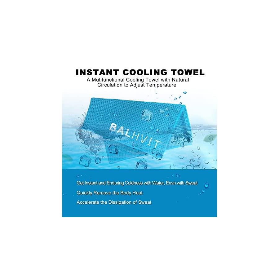 Balhvit Cooling Towel, Cool Towel for Instant Cooling Relief, Chilling Neck Wrap, Ice Cold Scarf for Men Women, Microfiber Bandana Evaporative Chilly Towel for Yoga Golf Travel (Blue, 4012)
