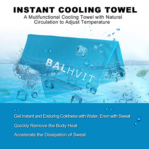 "Balhvit Cooling Towel, Cool Towel for Instant Cooling Relief, Chilling Neck Wrap, Ice Cold Scarf For Men & Women, 40x12"", Microfiber Bandana Evaporative Chilly Towel For Yoga Golf Travel Beach, Blue"