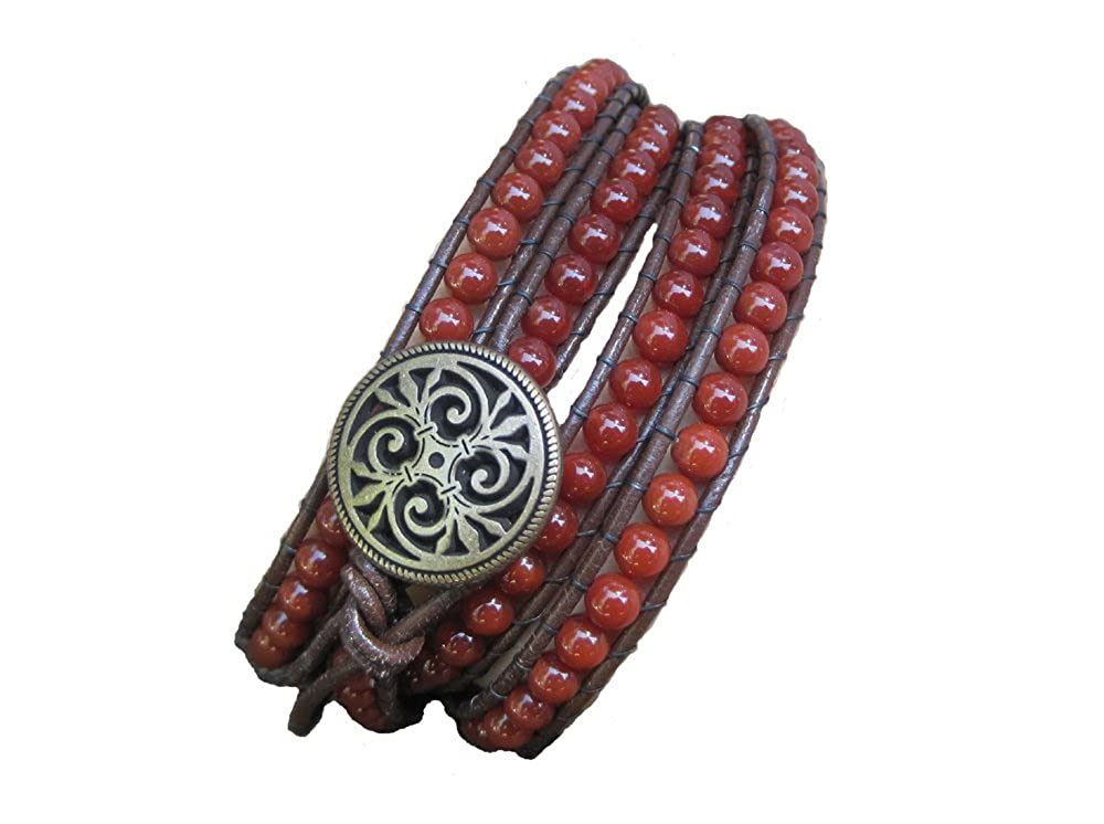 Carnelian Confidence Beaded Leather Wrap Bracelet Saphir Rose FF1212