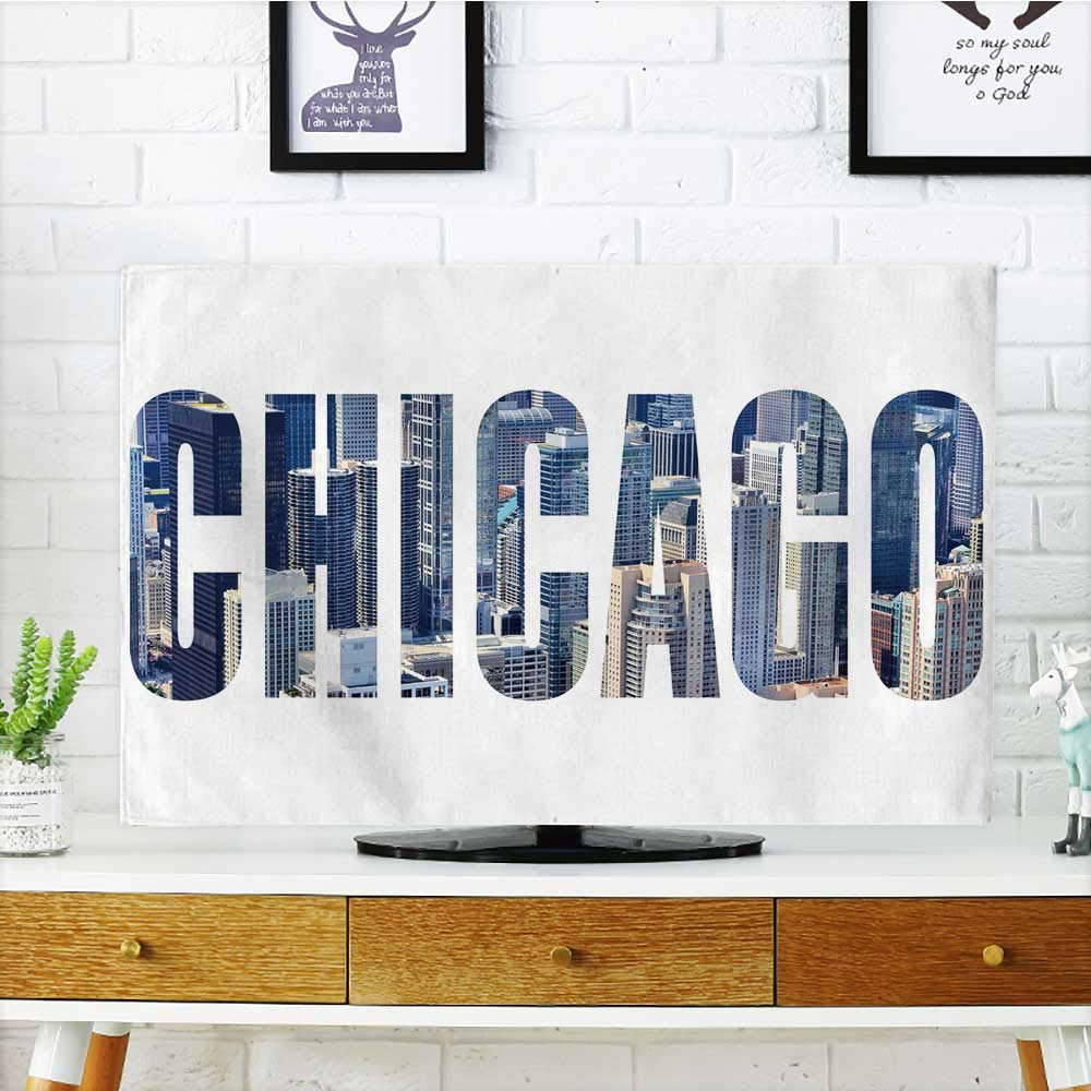Philiphome Protect Your TV Chicago City Name USA Travel Destination Sign on White Background Protect Your TV W19 x H30 INCH/TV 32''
