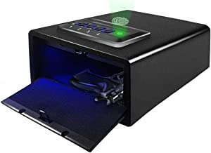 Sdstone Gun Safe with Fingerprint Identification, Pistol Safes with Biometric Lock and Sensor Light , Quick-Access Pistol Safe ,Hand Gun Safe for Home Office and Cabinet, Anchoring Design