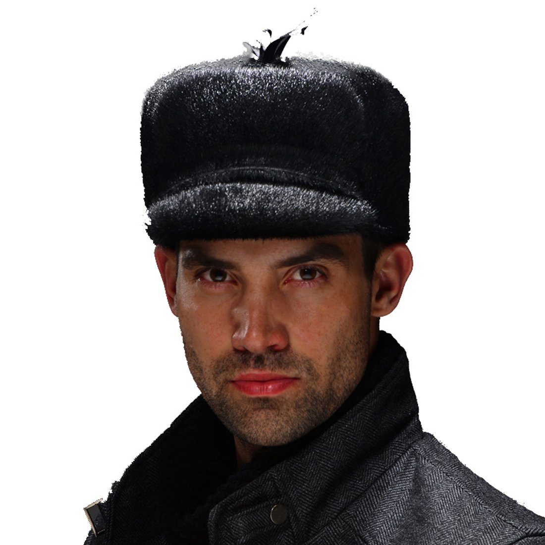 URSFUR Men's Seals Fur Hunting Hats Captain Hat (Black)