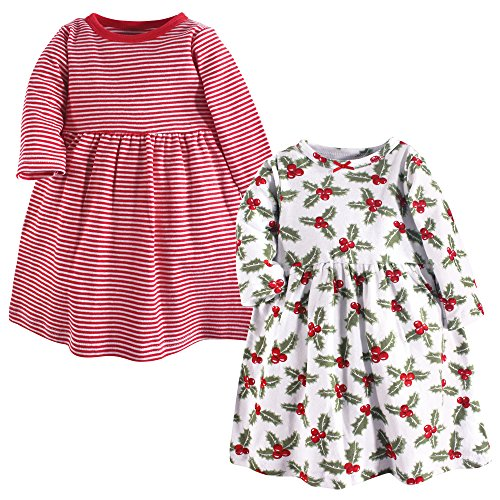 Hudson Baby Baby Girls' Cotton Dress, Holly 2Pk, 6-9 Months (9M)