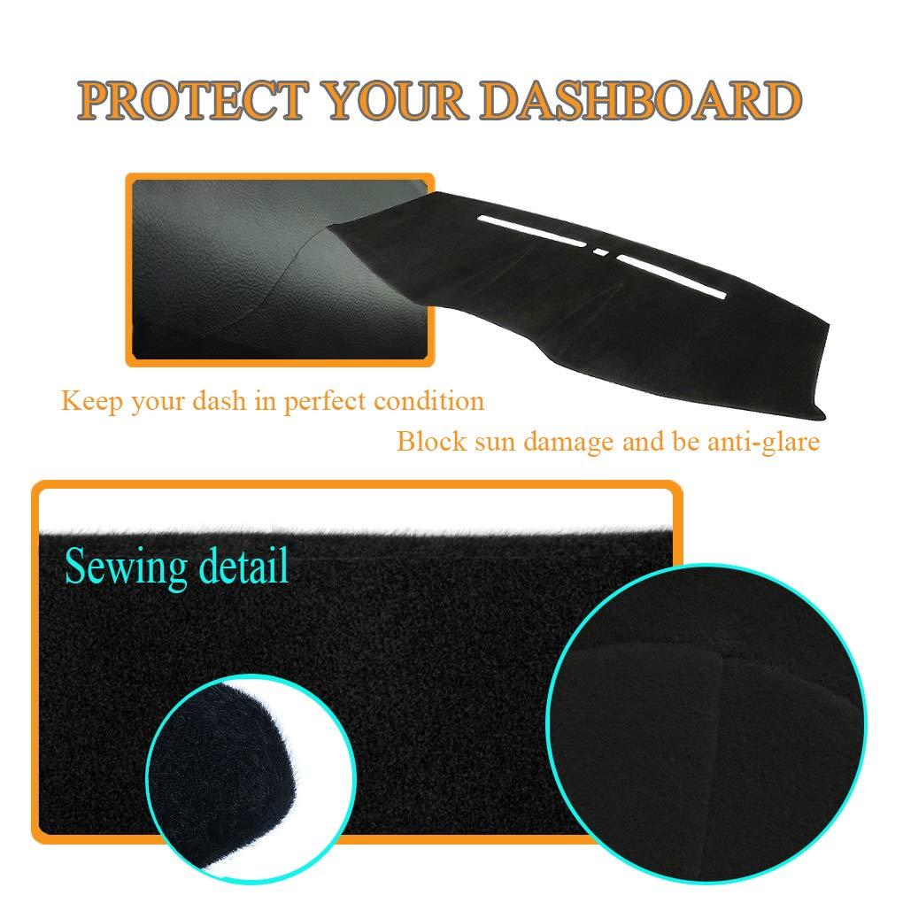 Y63 Dashboard Cover Dash Cover Mat Pad Custom Fit for Ford Mustang 2005-2009 Black