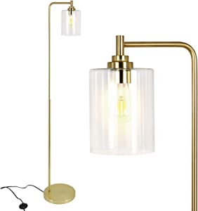 Modern Floor Lamp for Living Room with Glass Shade & Edison Bulb, Art Brass Standing Lamp for Bedrooms, Office, Indoor Tall Pole Light with Reading Light, Gold - ETL Listed
