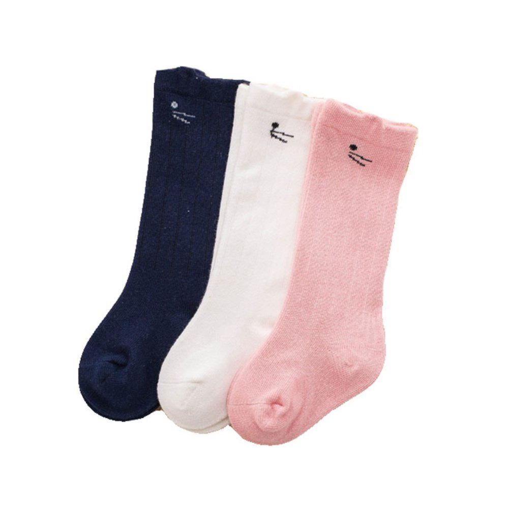 Weixinbuy Kids Toddler Baby Boys Girls Socks Anti-slip Cotton Tube Socks 3 Pairs