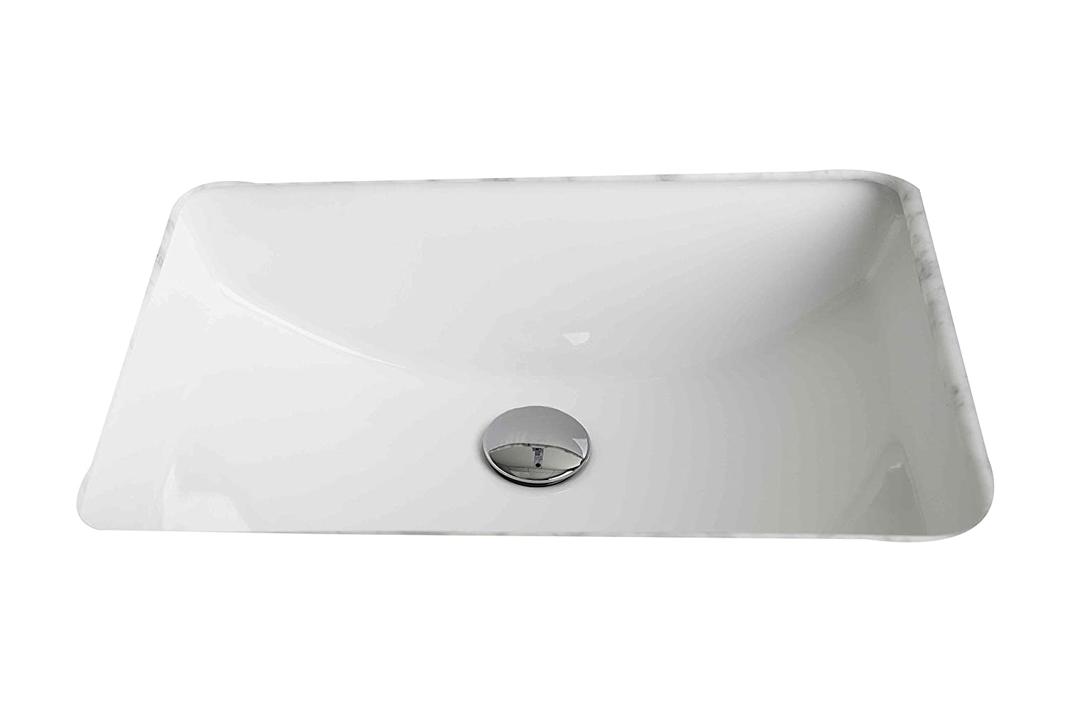 American Imaginations AI-13-176 Rectangle Undermount Sink, 20.75-in. W x 14.35-in. D, White