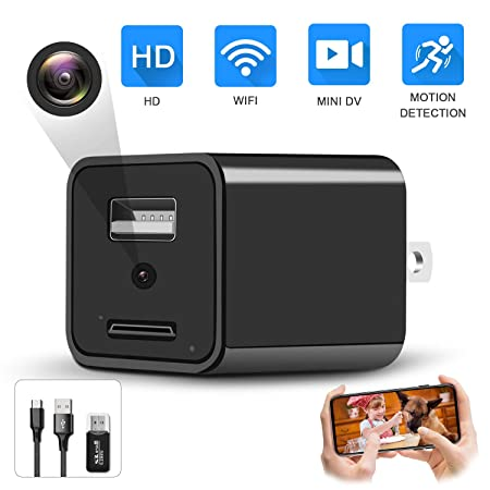 2019 Upgrade Spy Camera Wireless Hidden WiFi Camera with Remote View,Hidden Spy Camera 1080P HD Nanny Cam Spy Hidden Camera Charger Recorder Motion Activated,Wireless Spy Camera Support iOS Android