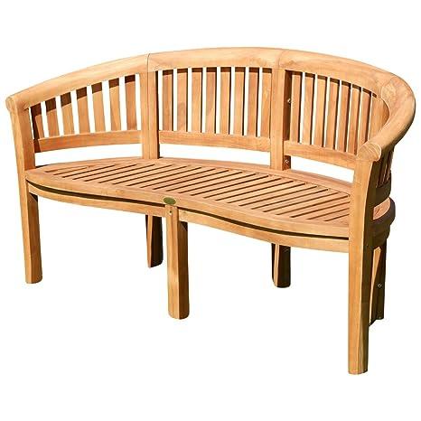 Amazonde ASS Teak XXXL Bananenbank Gartenbank Parkbank Sitzbank 3 Sitzer Bank Gartenmobel 150cm Holz Sehr Robust Model JAV Coco Von