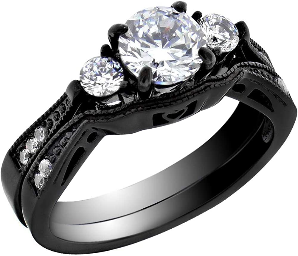 Amazon Com Flamereflection Stainless Steel Black Wedding Rings