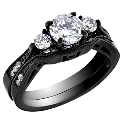 Stainless Steel Wedding Ring Sets for Women Bridal Engagement Band Round Cubic Zirconia CZ Three 3 Stones Vintage Style spj Black or silver color. ...