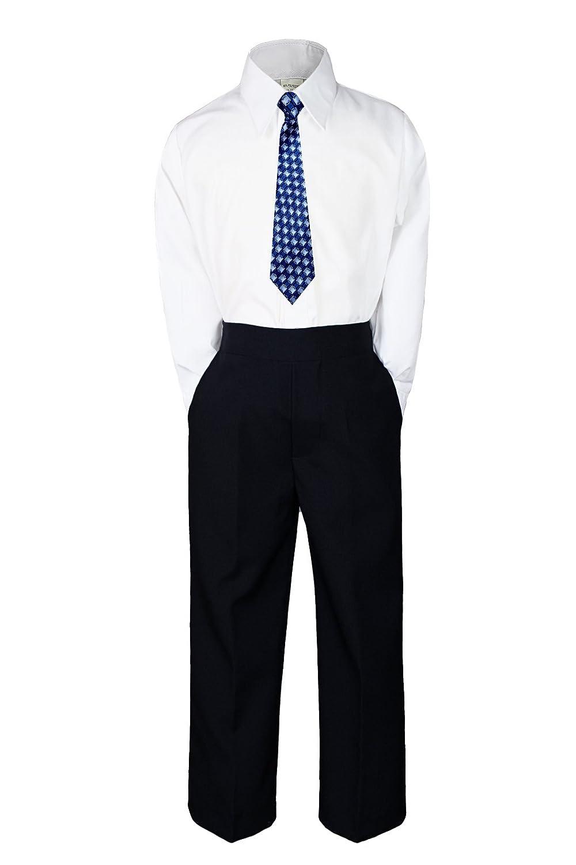 3pc New Born Baby Boy Teen Formal Dress Black Pants and Shirt Necktie Sm-20